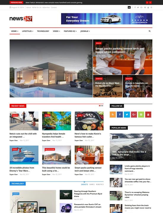 news or magazine website